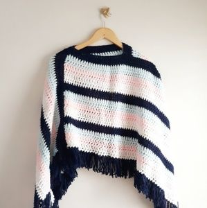 Vintage Crocheted Asymmetrical Poncho Cape